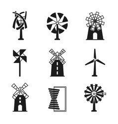 windmill icons wind turbine and mill black vector image vector image