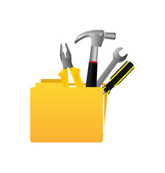 yellow file with tools icon vector image vector image