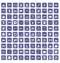 100 bag icons set grunge sapphire vector