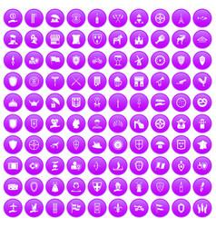 100 shield icons set purple vector