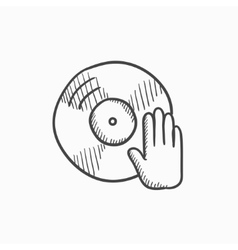 Disc with dj hand sketch icon vector