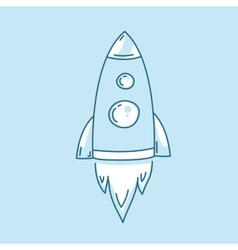 Rocket launch icon Spaceship startup sign Line vector image