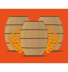 Beer barrel and wheat ear design vector