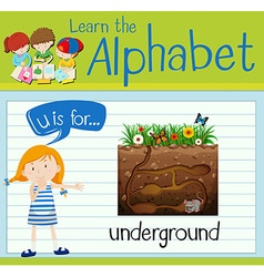 Flashcard letter u is for underground vector