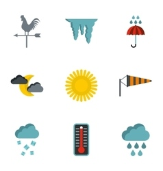 Kinds of weather icons set flat style vector