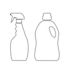 household chemical bottles sign  black vector image