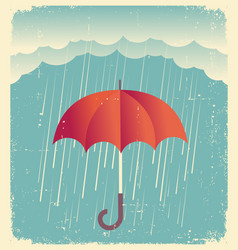 Rain clouds with red umbrellavintage poster on vector