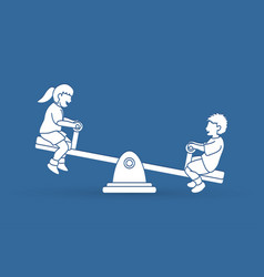 Little boy and girl are playing seesaw vector