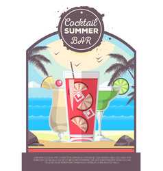 Flat style design of cocktail summer bar vector