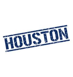 Houston blue square stamp vector
