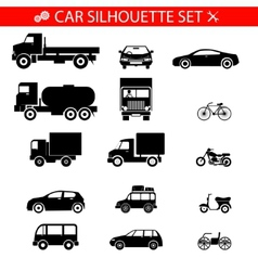 Car Silhouette Icons Vehicles and Transport Set vector image