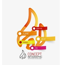 Hot bonfire line style infographic concept vector