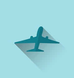 icon of aircraft with long shadow modern flat vector image