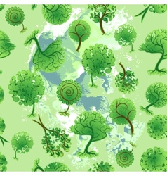 Seamless background of decorative trees vector
