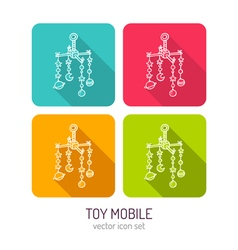 Line art baby crib mobile icon set in four color vector