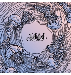 Jellyfish design in line art style vector