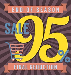 95 percent end of season sale vector