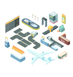 Airport isometric set vector