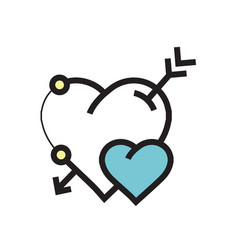 arrow on heart icon blue vector image