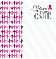 Breast cancer awareness ribbon women figures vector image vector image