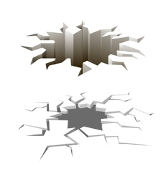 Cartoon ground cracks set earthquake vector