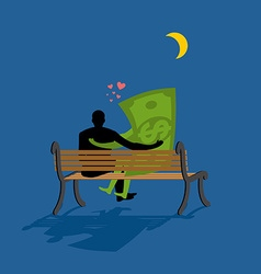 Cash Lovers looking at stars Date night Man and vector image vector image
