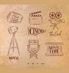 cinema symbols craft vector image vector image