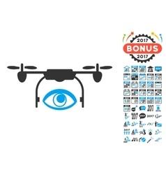 Eye spy drone icon with 2017 year bonus pictograms vector