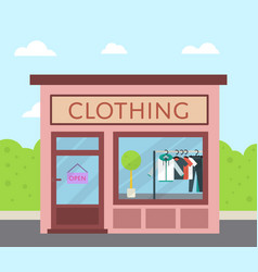 Facade clothing store building in flat design vector