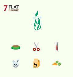 Flat icon animal set of nutrition box shears vector