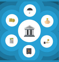 Flat icon finance set of money box bank parasol vector
