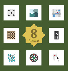 Flat icon play set of jigsaw backgammon arrow vector