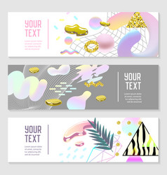 Horizontal banners set with gold glitter vector