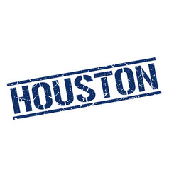 Houston blue square stamp vector