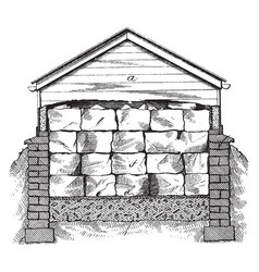 Ice house natural sources of winter vintage vector