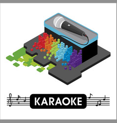 Isometric karaoke microphon vector