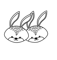 line cute rabbit head animal couple together vector image vector image