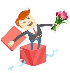 Man in big gift box with bunch of flowers vector
