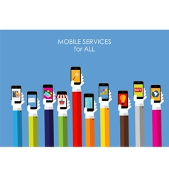 Mobile Services Flat Concept for Web Marketing vector image vector image