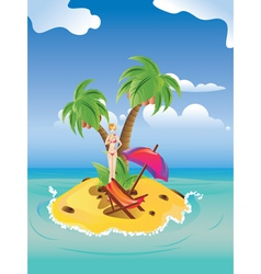 Red Bikini Girl on Island2 vector image
