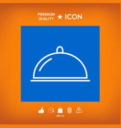 Restaurant steel serving tray cloche line icon vector