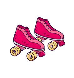 Retro quad roller skates icon vector