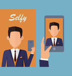 Selfy on smartphone young man taking self vector