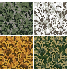 Set of camouflage seamless textures vector