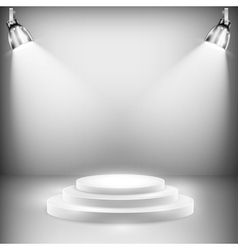 Shiny Stage Illuminated By Spotlights vector image vector image