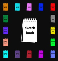 Sketchbook icon sign lots of colorful symbols for vector