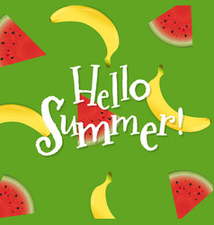 summer poster with banana and watermelon vector image