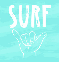 surfing hand sign vector image vector image