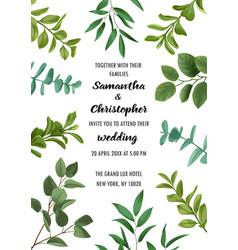 wedding invitation with greenery vector image