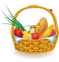 Wicker picnic basket vector